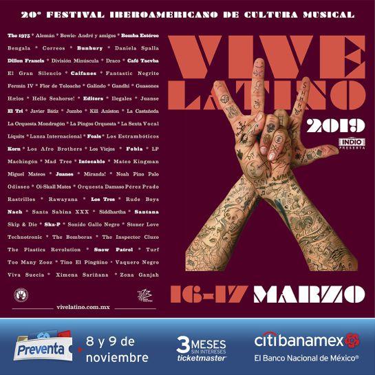 Editors muestra a los invistados del VL19: Filtran cartel del Vive Latino 2019