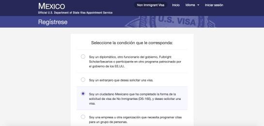 visa americana solicitud