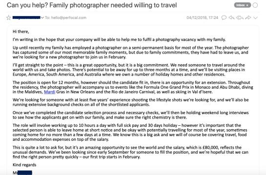 familia rica busca fotografo para viajar por el mundo