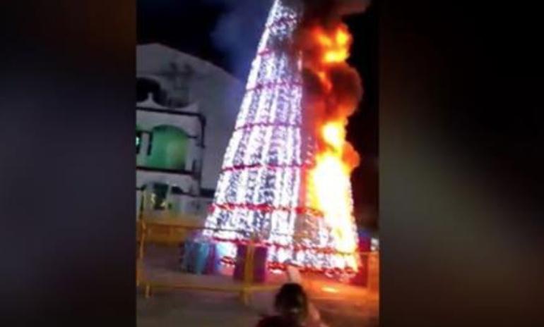 Americanistas grinch incendian árbol de Navidad