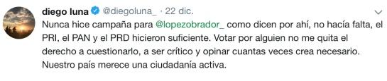 Diego Luna rechaza campaña a fovor de AMLO