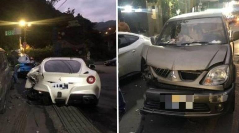 [VIDEO] Joven se queda dormido y choca contra 4 autos Ferrari