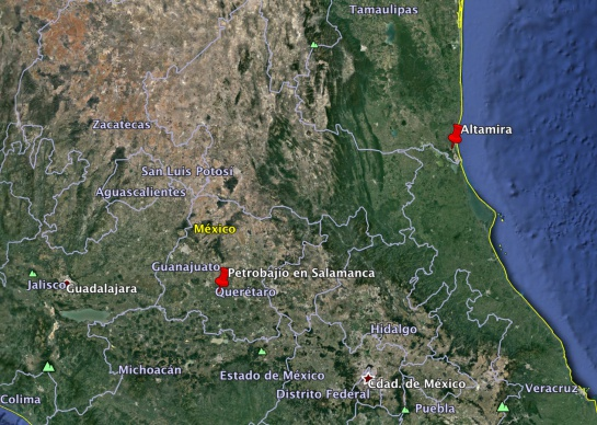 Lugares de operación de Petrobajio
