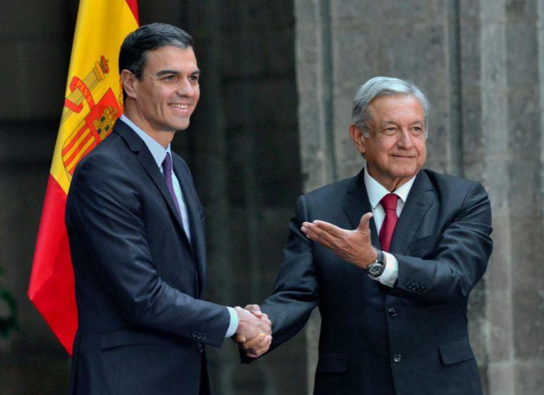 AMLO recibe a Pedro Sánchez en Palacio Nacional