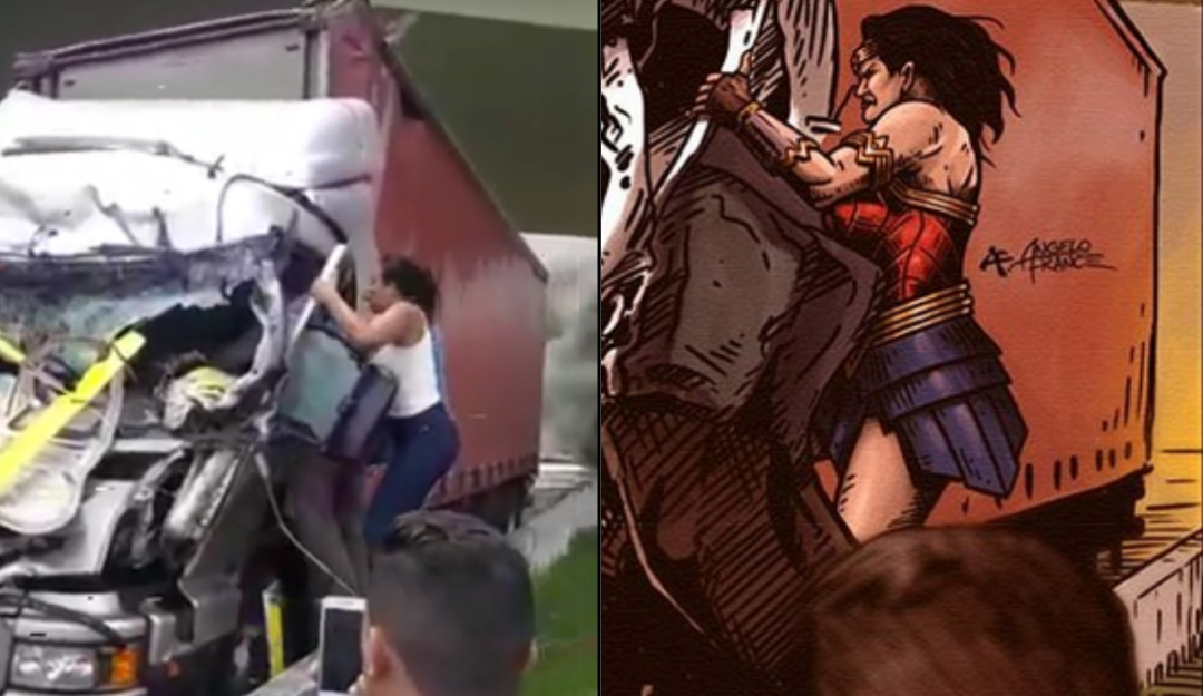 "La ""superheroína"" que salvó a un chofer atrapado en un choque"