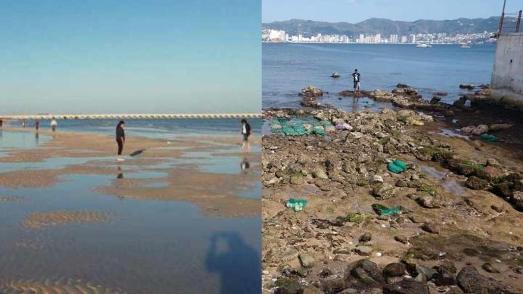El mar retrocede en Acapulco y Yucatán