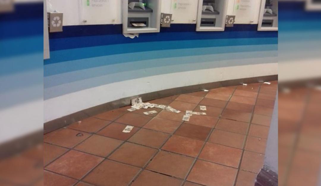 Cajero automático se vuelve loco y lanza billetes