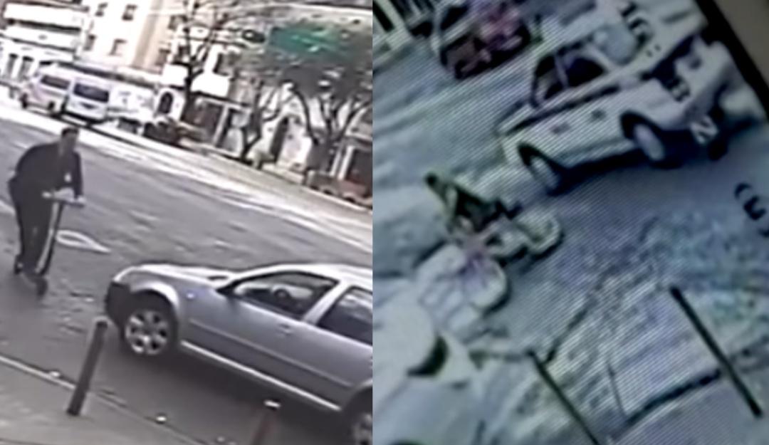 Como si nada; auto que arrolló a usuario de monopatín fue abandonado