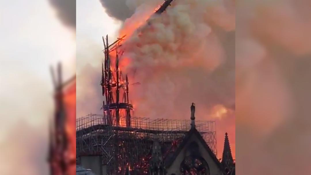Incendio en Catedral de Notre Dame: así se desplomó la aguja del templo
