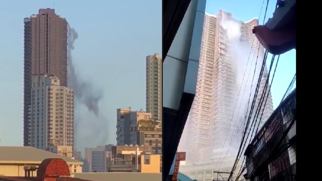 Piscina de rascacielos se quiebra en terremoto de Filipinas