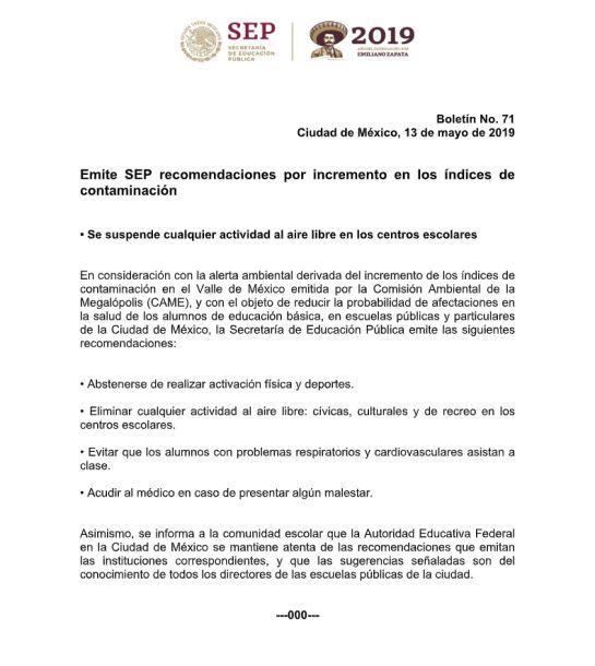 SEP suspende actividades al aire libre en escuelas por contaminación en CDMX en un comunicado