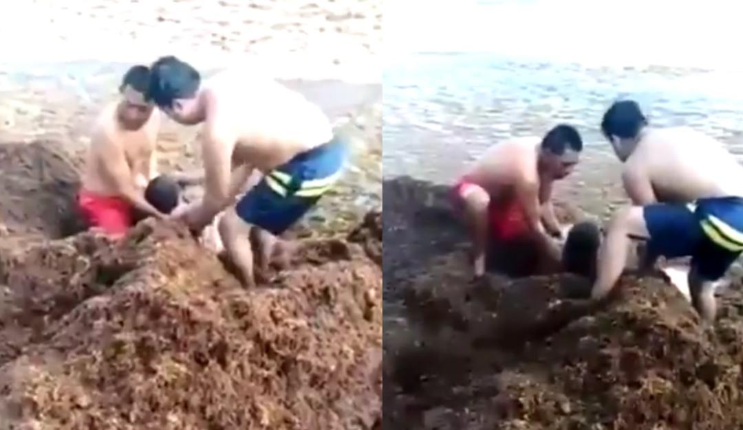Salvan a mujer que se ahogaba entre sargazo en Playa del Carmen