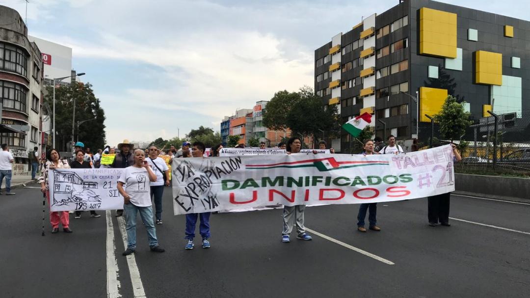 Damnificados del 19S marchan sobre Tlalpan