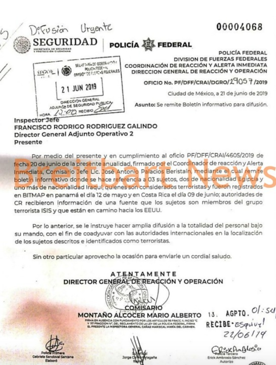 Oficio de la Policía Federal de México sobre terroristas de ISIS