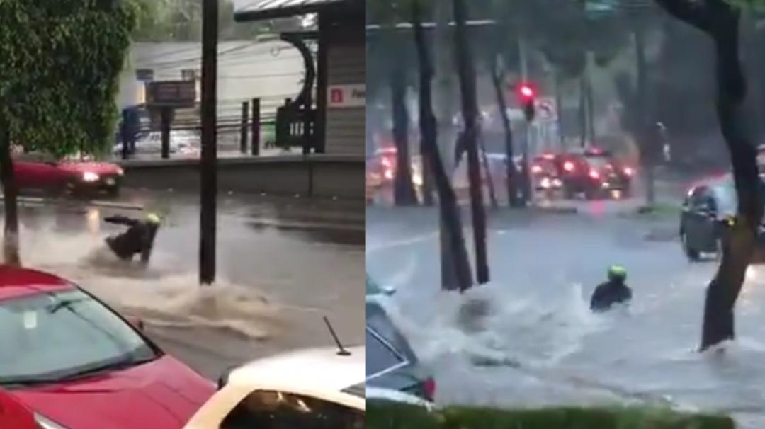 Motociclista es arrastrado por fuerte inundación en Tlalpan