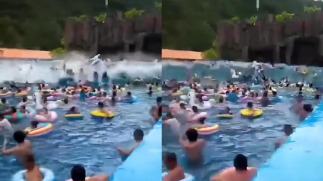"""Falla provoca """"tsunami"""" de tres metros de altura en parque acuático"""