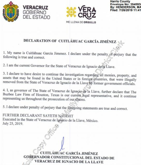 Gobierno de Veracruz reitera litigio contra Javier Duarte en EU