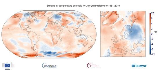 Temperatura del aire en superficie durante julio de 2019