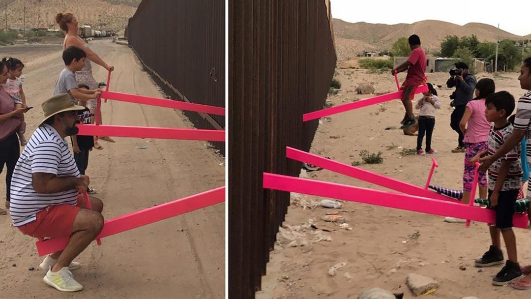 Juegan niños en la frontera