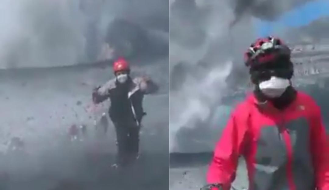 Alpinistas graban en plena fumarola en el cráter del Popocatépetl