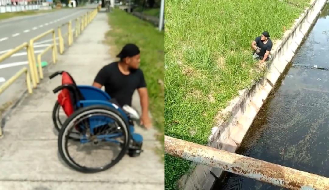 Deportista paralímpico deja su silla de ruedas para salvar a gatito