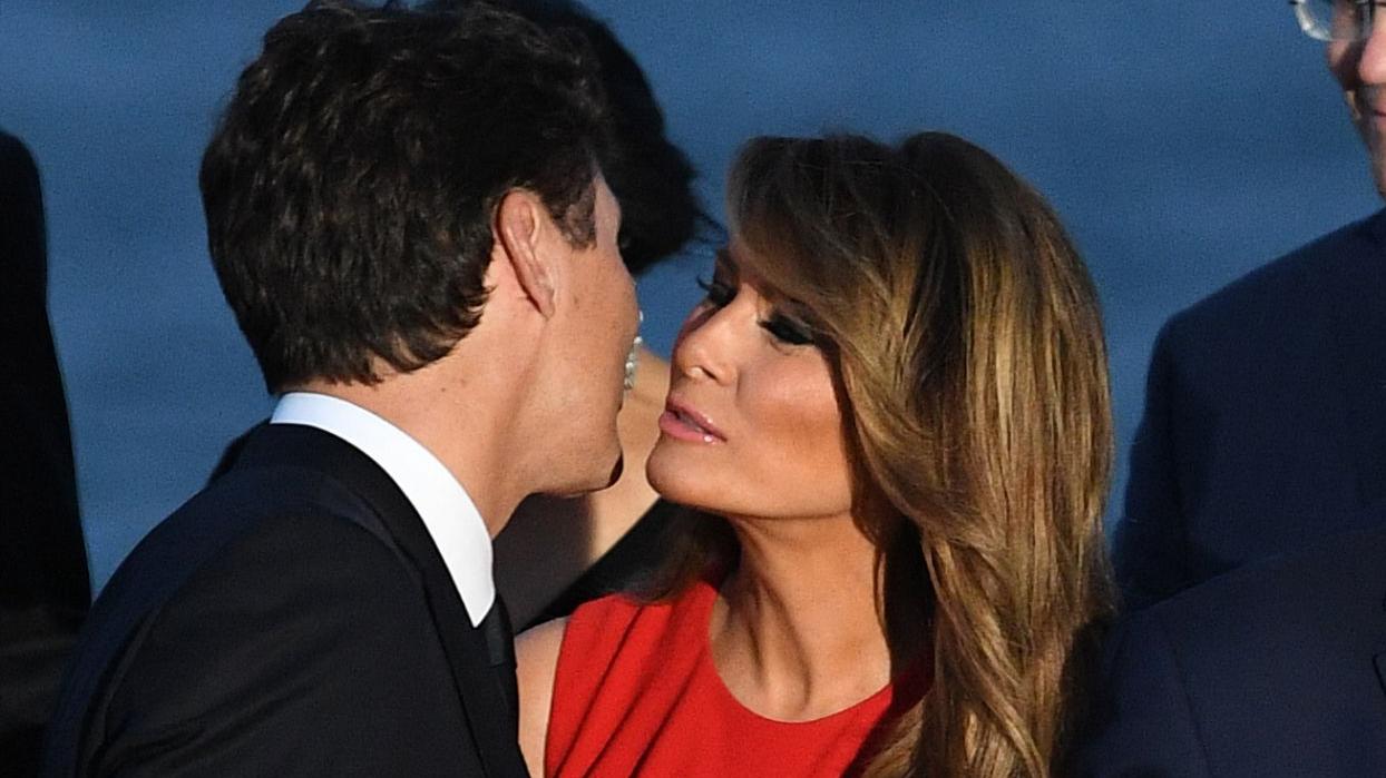 Beso de Melania Trump y Justin Trudeau que se viralizó