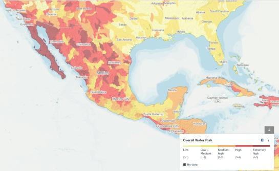 Mapa de Estrés Hídrico por regiones en México