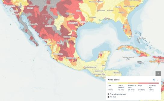 Mapa de Estrés Hídrico por regiones en México en 2030