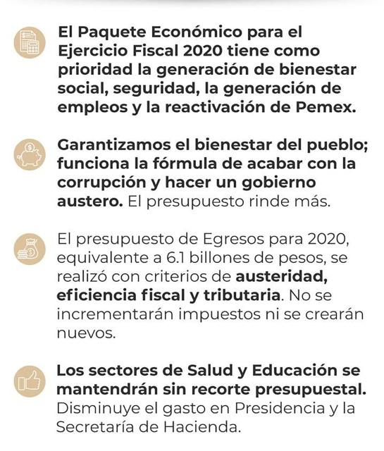 Puntos que destacó el gobierno de AMLO en su propuesta de Paquete Económico