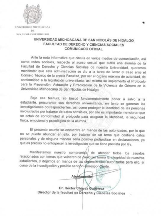 Alumna de la Universidad Michoacana exhibe presunto acoso de profesor