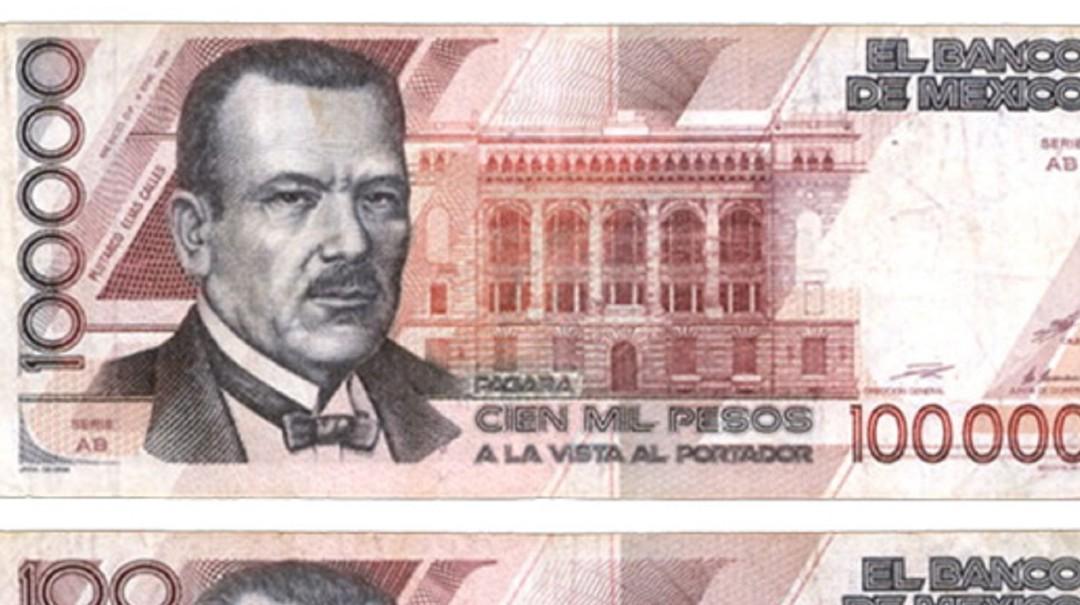 Billete de 100 mil pesos; el de mayor denominación que ha tenido México
