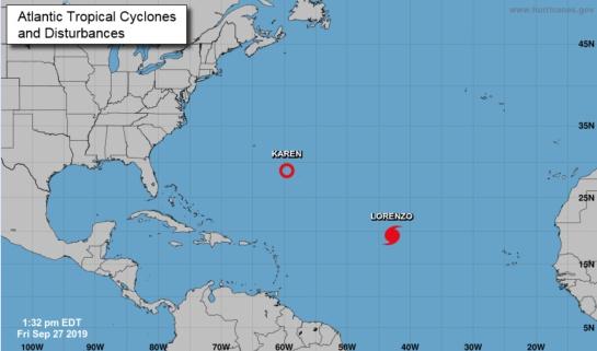 La tormenta tropical Karen y el Huracán Lorenzo en el Océano Atlántico