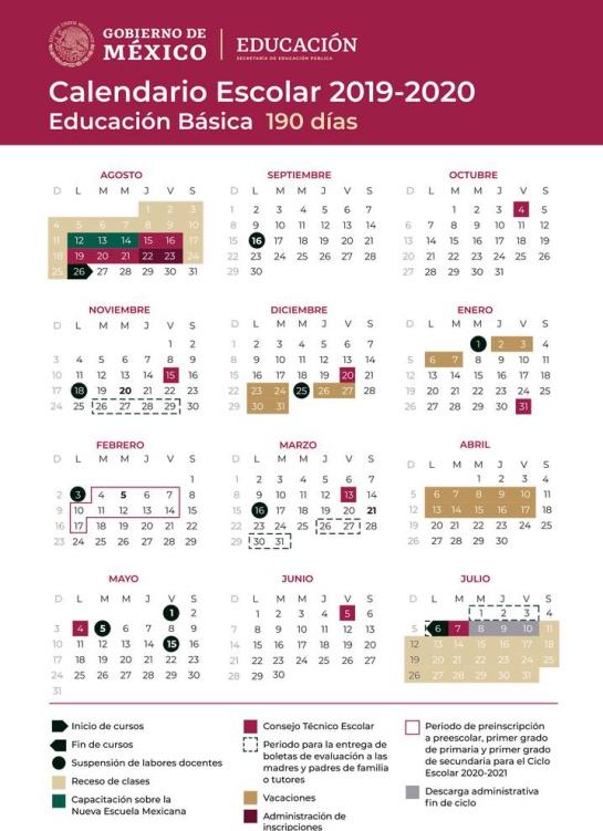 Calendario escolar 2019-2020 actualizado