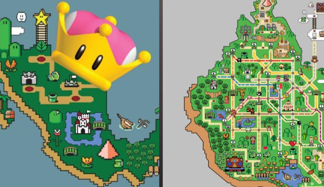 Mapa del metro de la Ciudad de México al estilo del mundo de Mario Bros