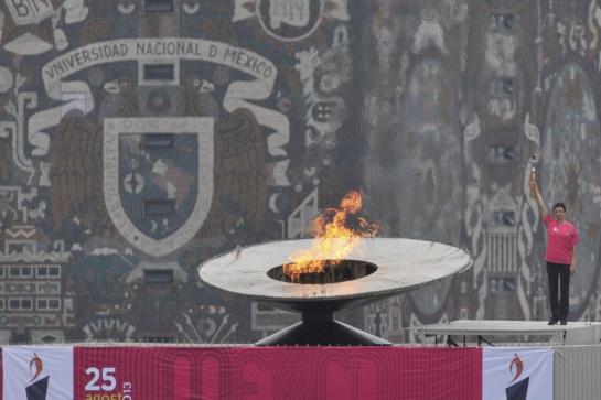 En 2013 Enriqueta Basilio encendió de nuevo el pebetero del Estadio Olímpico Universitario en una ceremonia previa al Maratón de la Ciudad de México