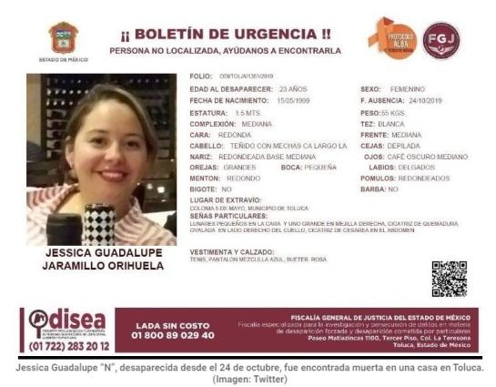 Su padre habría reportado su desaparición el 24 de octubre, fue encontrada en casa de quien era entonces su novio