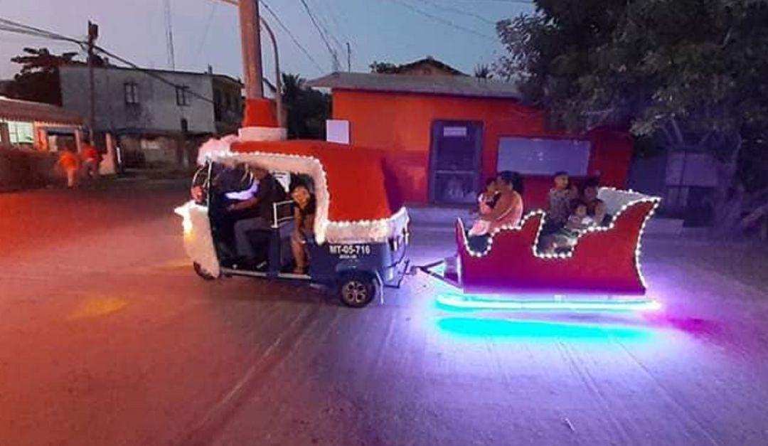 Navidad para todos; así convirtió Don Jerónimo un mototaxi en trineo