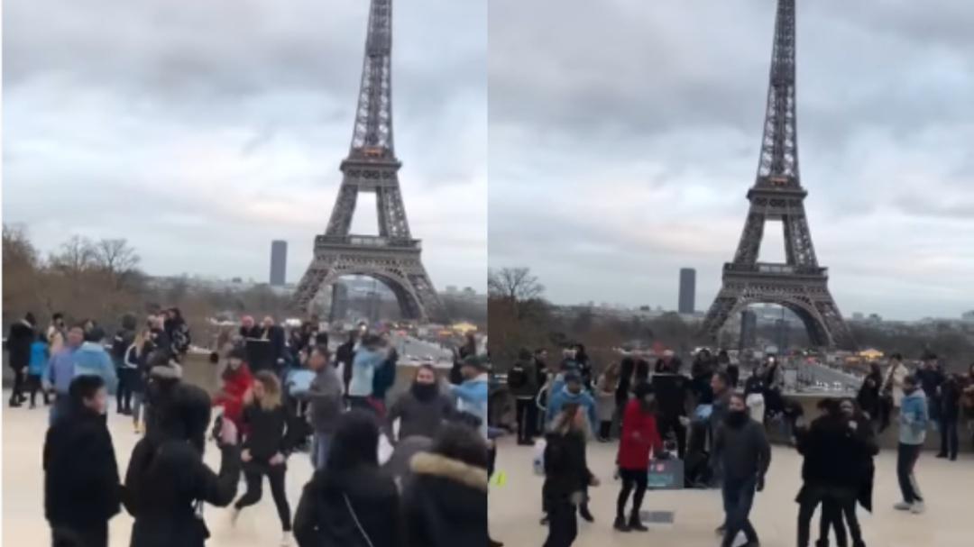 """Al ritmo de """"La Chona"""" mexicanos bailan en la Torre Eiffel"""