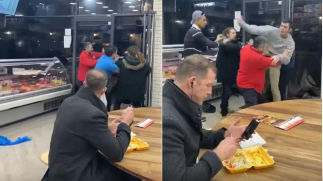 Hombre se vuelve viral por comer tranquilamente en medio de una pelea