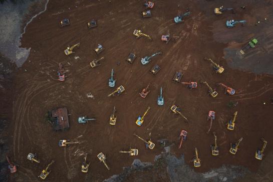 Vista aérea de la zona donde se está construyendo un hospital específicamente para pacientes infectdos con coronavirus en China