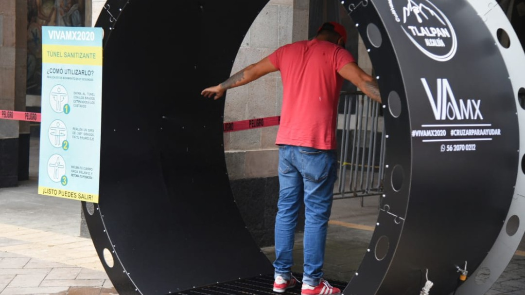 Tlalpan instala túneles sanitizantes ante COVID-19