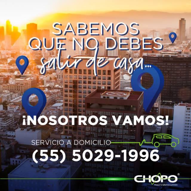 ¡Sabemos que no debes salir de casa, por eso Chopo va a tu domicilio!