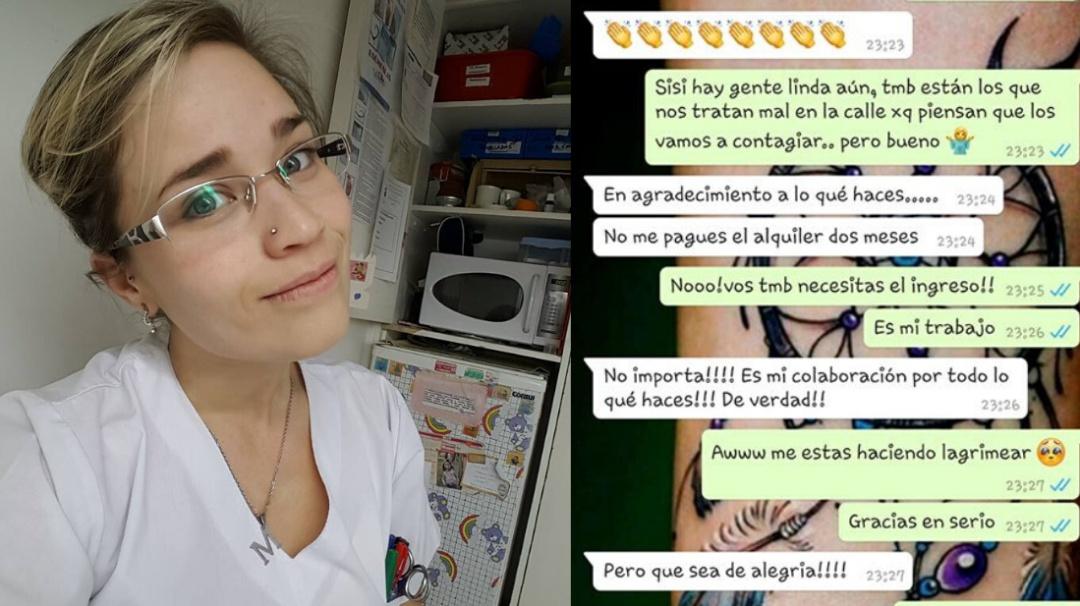 Mujer agradece labor de una enfermera y no le cobra dos meses de renta