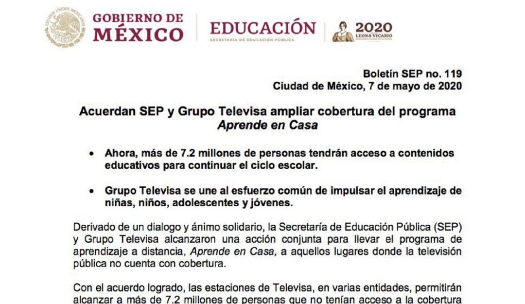 """Acuerdan SEP y Grupo Televisa ampliar cobertura de """"Aprende en Casa"""""""