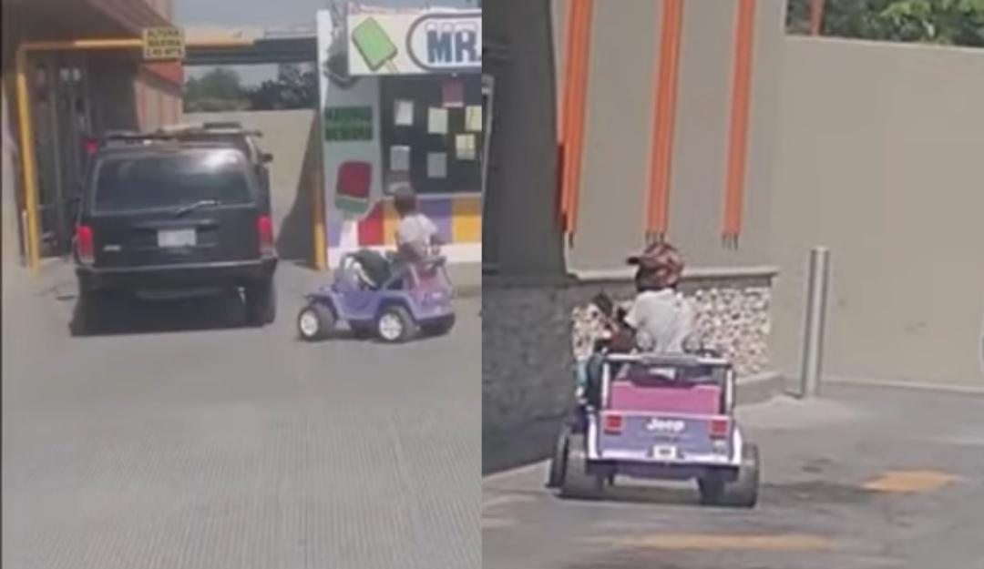 Le niegan servicio por llegar a pie y regresa con carro de juguete