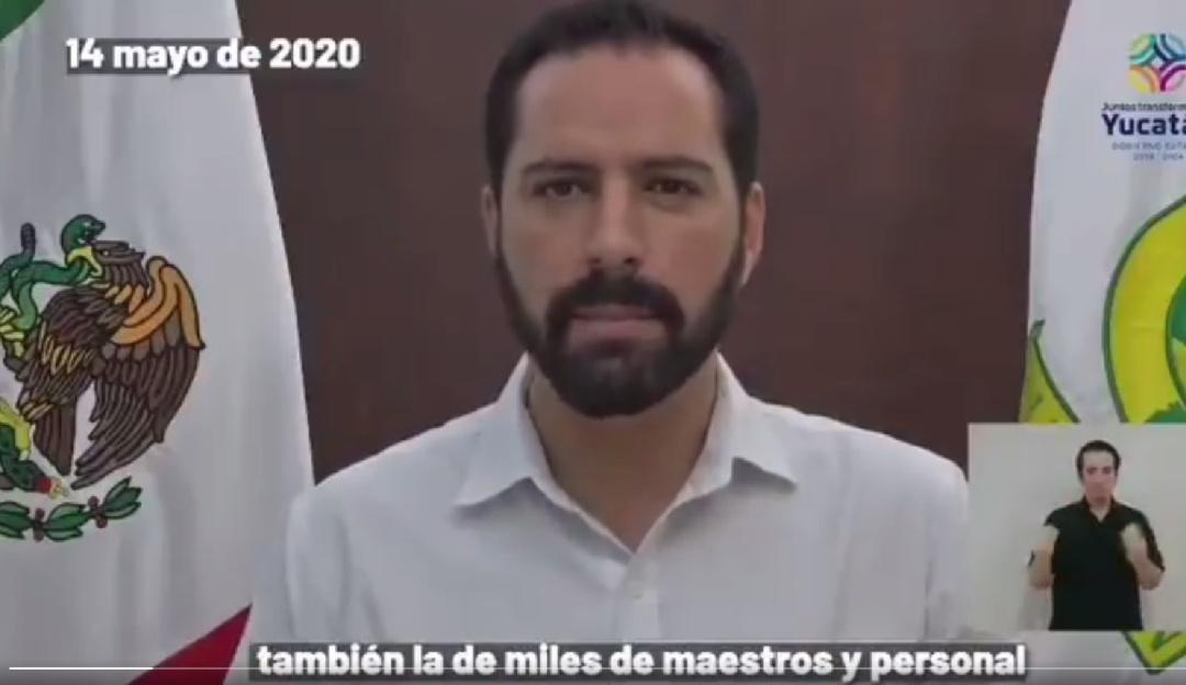 Yucatán no regresará a las aulas en el actual ciclo escolar: Mauricio Vila