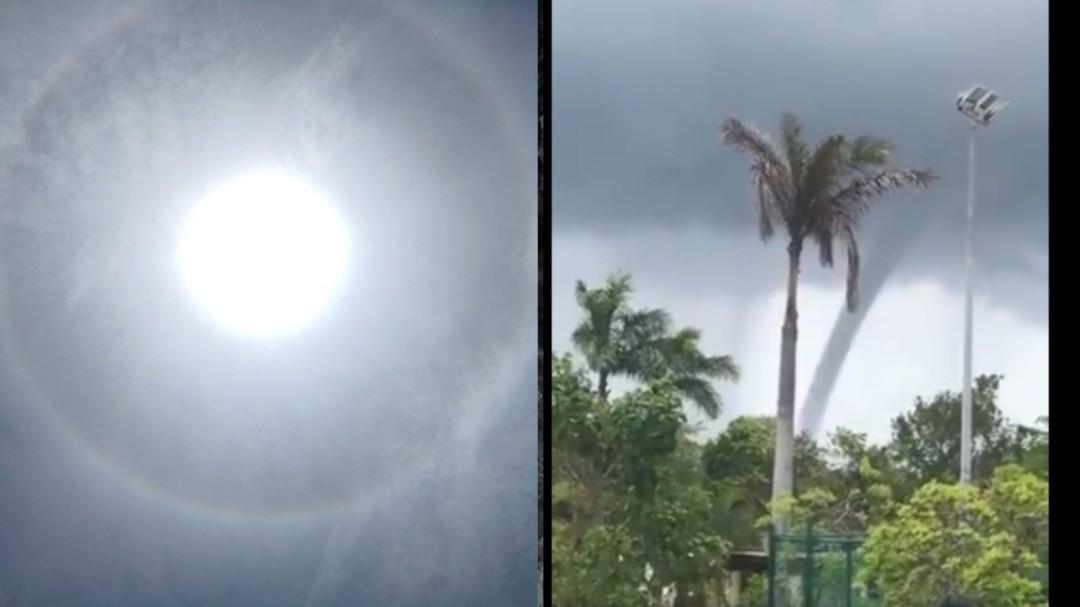Halo solar y tromba marina sorprenden en Cancún