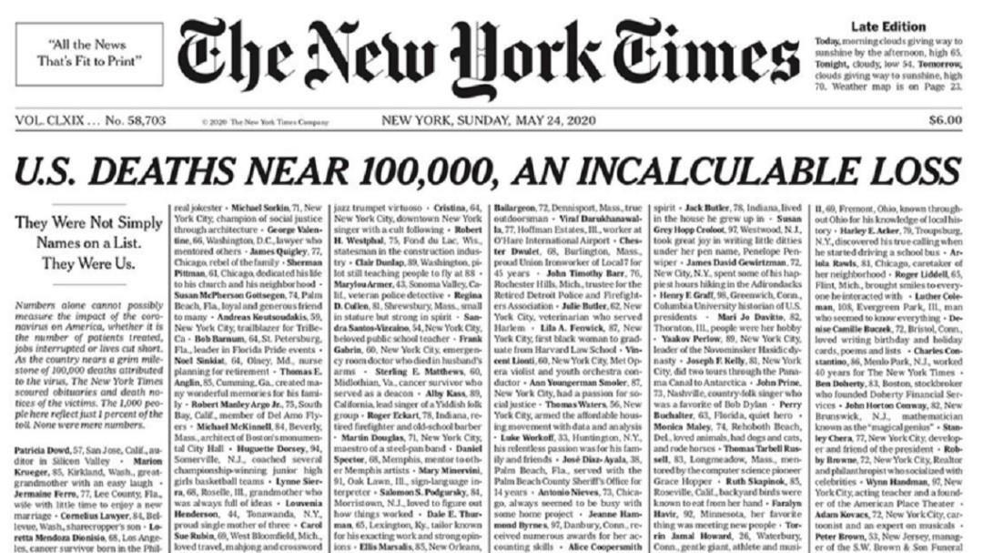 Impactan al NYT historias de migrantes latinos fallecidos por COVID-19