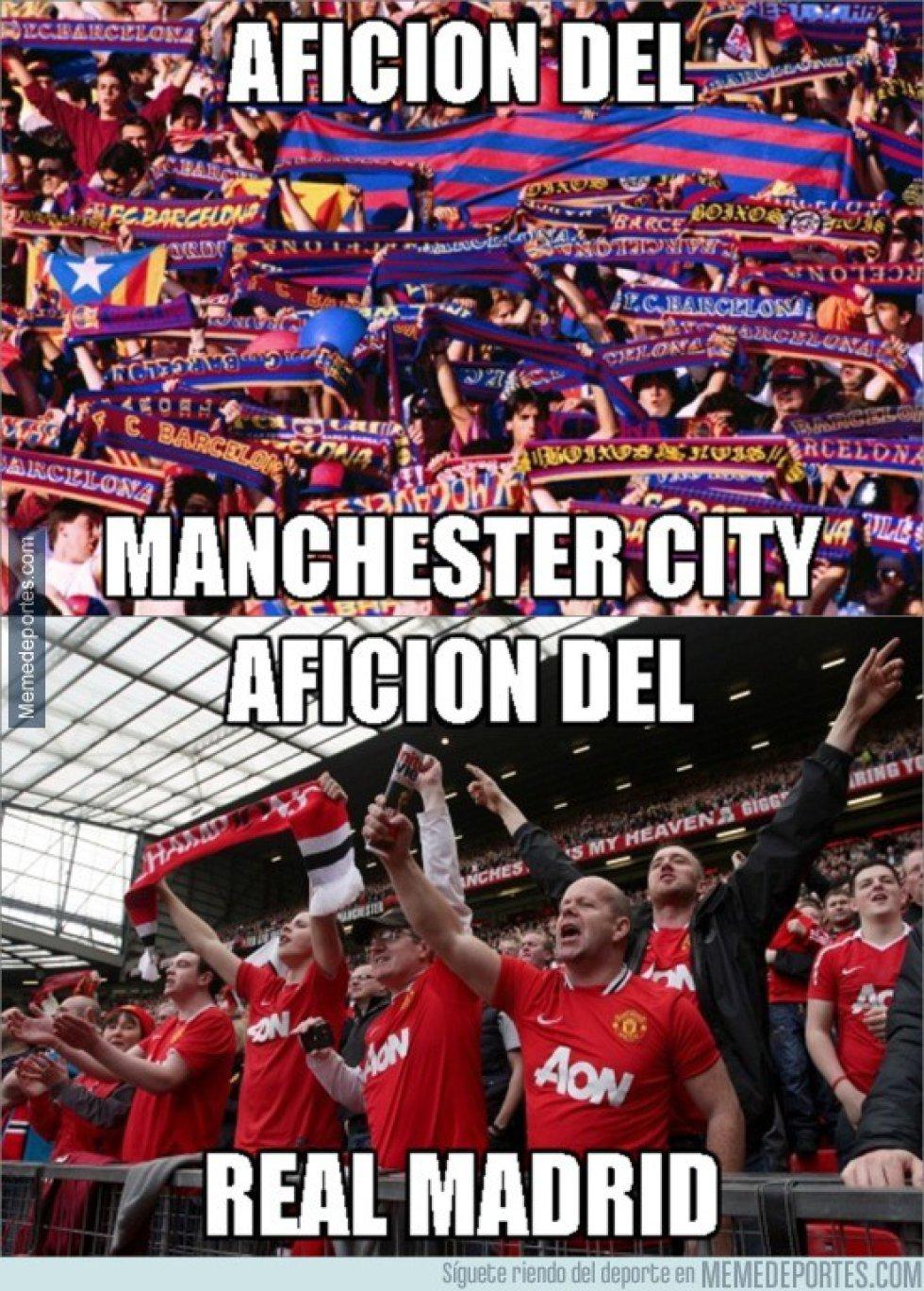 Los seguidores del Barcelona y los del Manchester United apoyaron al Manchester City y al Real Madrid, respectivamente