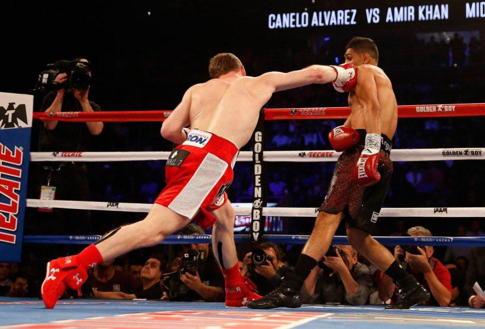 """Imágenes del KO de Saúl """"Canelo"""" Álvarez a Amir Khan en Las Vegas"""